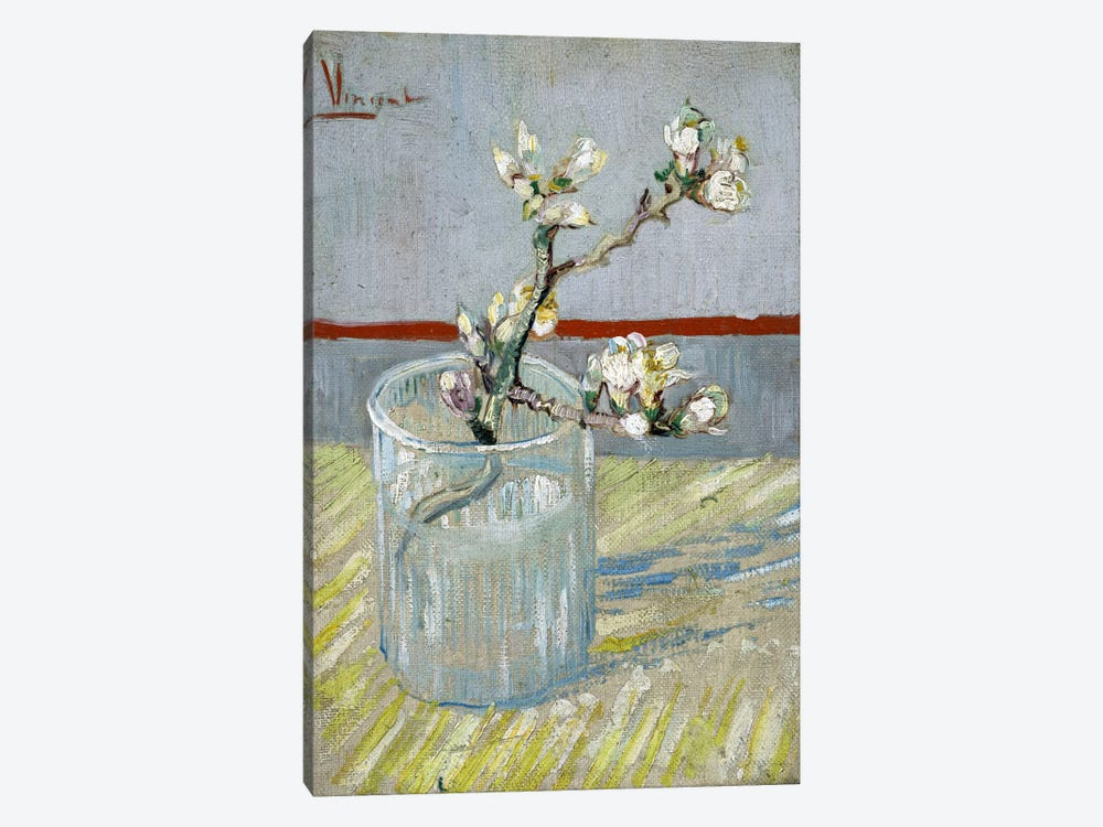Sprint of Flowering Almond Blossom in a Glass by Vincent van Gogh 1-piece Art Print
