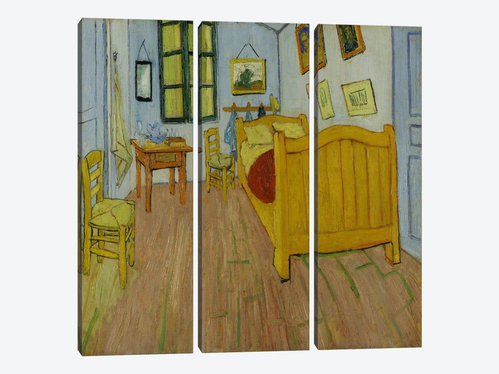 Bedroom In Arles, First Version, October 1888 (van Gogh Museum) by Vincent van Gogh 3-piece Canvas Artwork