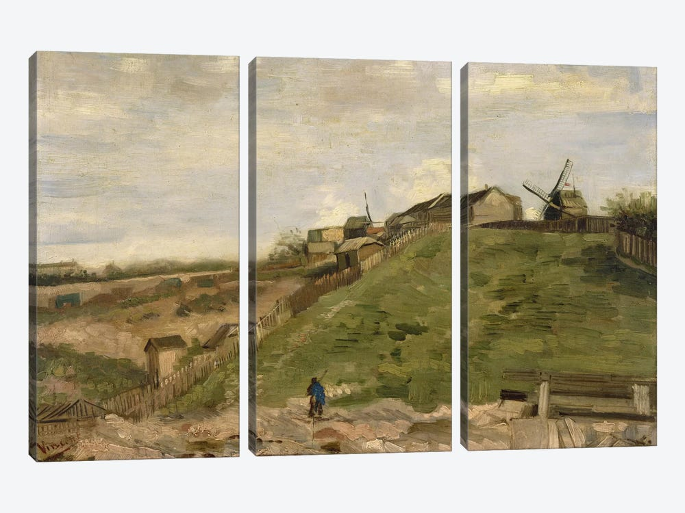 The Hill at Montmartre with Stone Quarry by Vincent van Gogh 3-piece Canvas Wall Art
