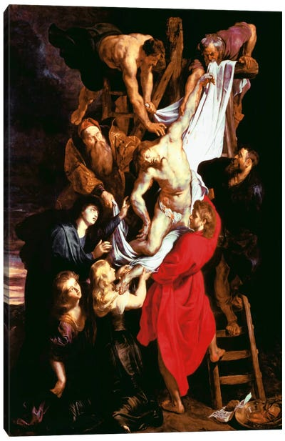 The Descent From The Cross, Central Panel of The Triptych, 1611-14 Canvas Art Print