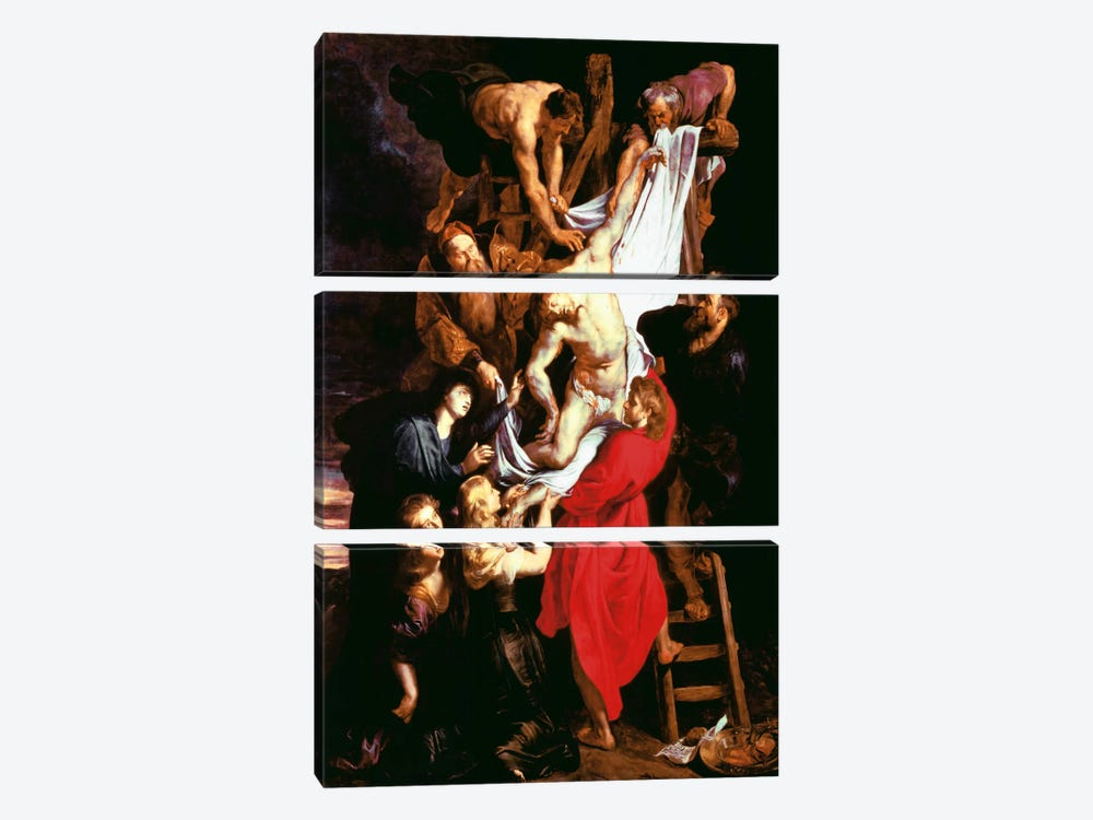 The Descent From The Cross, Central Panel of The Triptych, 1611-14 by Peter Paul Rubens 3-piece Canvas Print