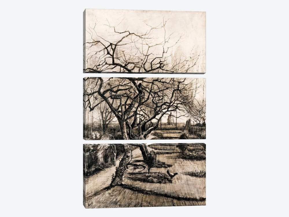 The Parsonage Garden at Nuenen in Winter by Vincent van Gogh 3-piece Art Print