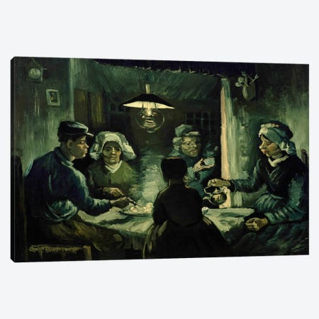 Second Study For The Potato Eaters Canvas Print #14414} by Vincent van Gogh Canvas Art Print