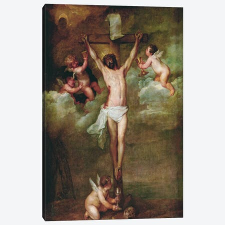 Christ Attended by Angels Holding Chalices Canvas Print #1441} by Peter Paul Rubens Canvas Art