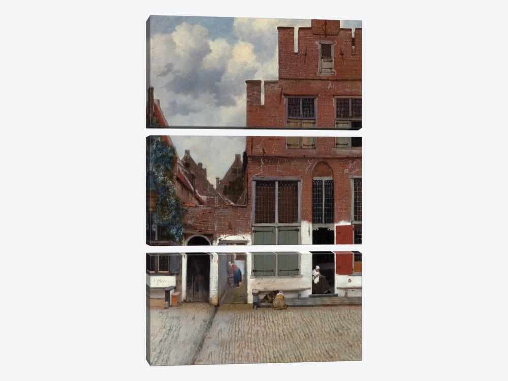 Street In Delft by Johannes Vermeer 3-piece Canvas Art
