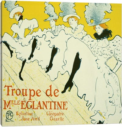 La Troupe De Mlle. Eglantine by Henri de Toulouse-Lautrec Canvas Artwork