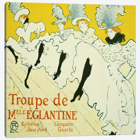 La Troupe De Mlle. Eglantine 3-Piece Canvas #1455} by Henri de Toulouse-Lautrec Canvas Artwork