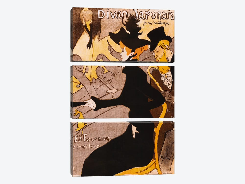 Le Divan Japonais by Henri de Toulouse-Lautrec 3-piece Canvas Wall Art