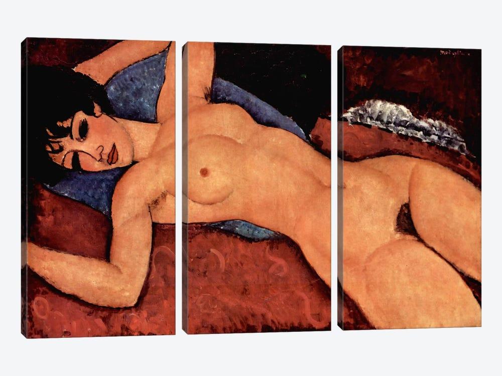 Nudo Sdraiato by Amedeo Modigliani 3-piece Canvas Art Print