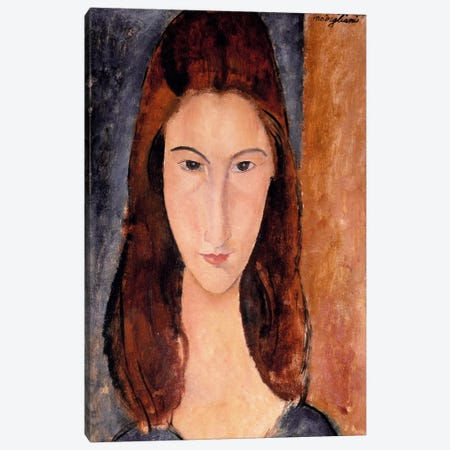 Portrait of Jeanne Hebuterne Canvas Print #1465} by Amedeo Modigliani Canvas Art Print
