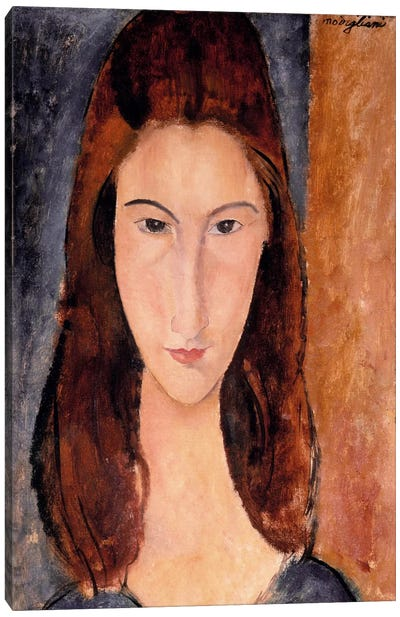 Portrait of Jeanne Hebuterne Canvas Art Print