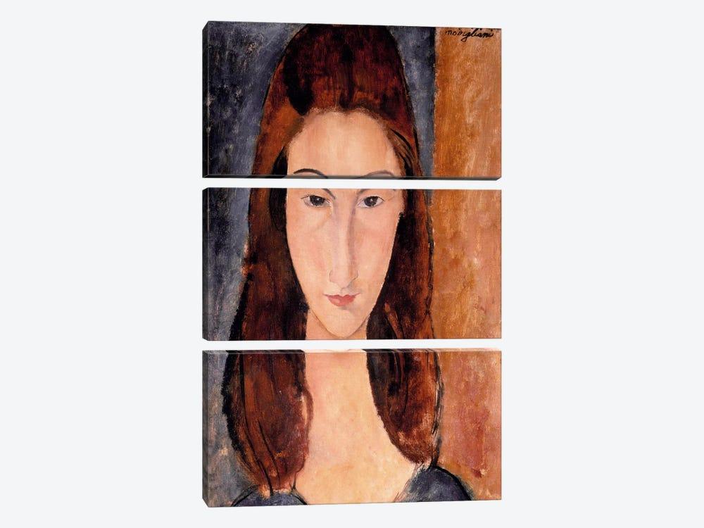 Portrait of Jeanne Hebuterne by Amedeo Modigliani 3-piece Canvas Art
