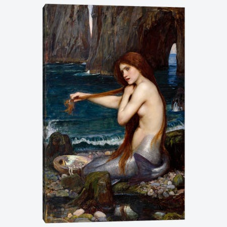 A Mermaid Canvas Print #1482} by John William Waterhouse Canvas Wall Art