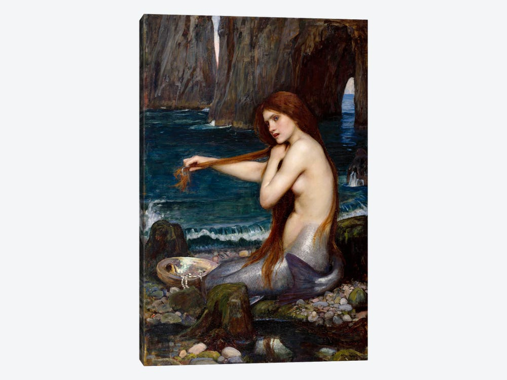 A Mermaid by John William Waterhouse 1-piece Canvas Art Print