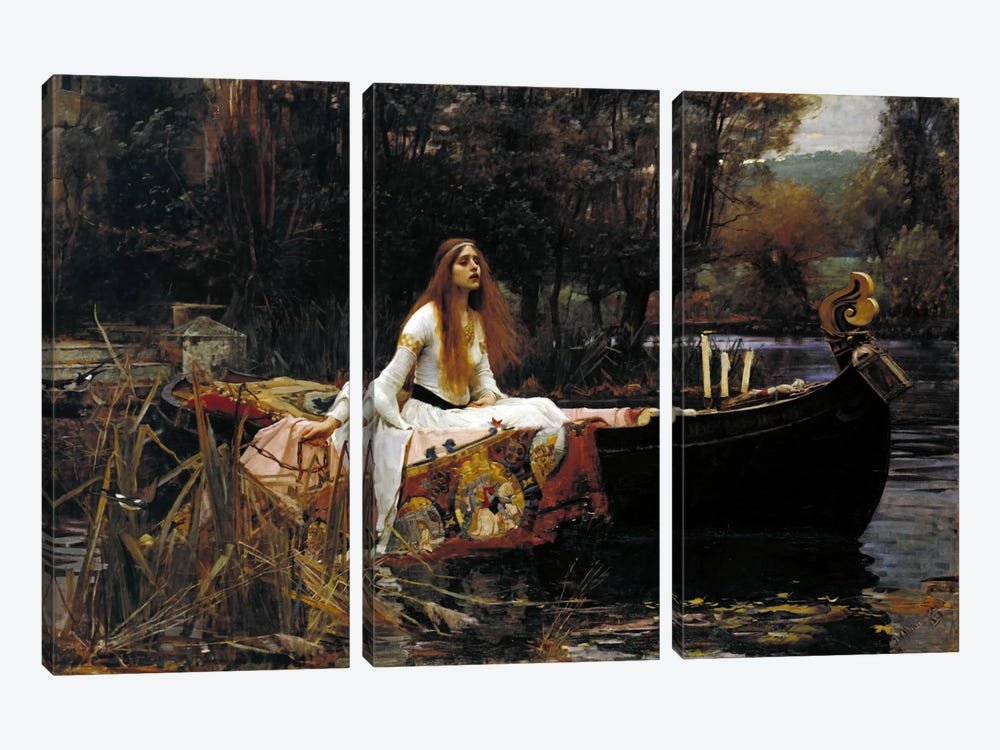 The Lady of Shalott by John William Waterhouse 3-piece Canvas Print