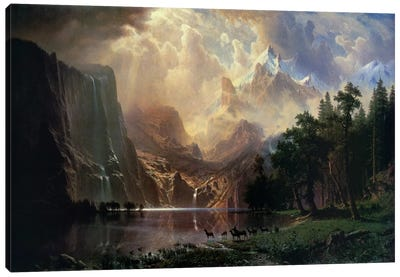 Among Sierra Nevada In California by Albert Bierstadt Canvas Wall Art