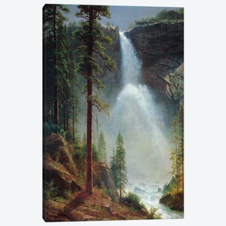 Nevada Falls Canvas Print #1489} by Albert Bierstadt Canvas Artwork