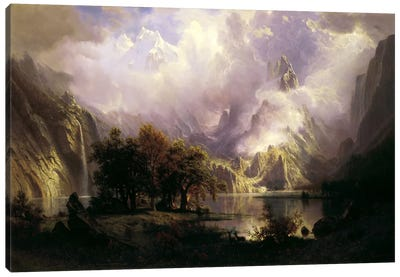 View of Rocky Mountains by Albert Bierstadt Canvas Art Print