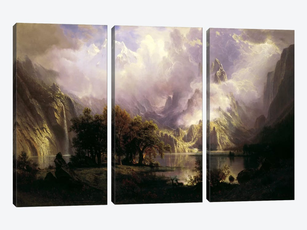 View of Rocky Mountains by Albert Bierstadt 3-piece Canvas Art Print