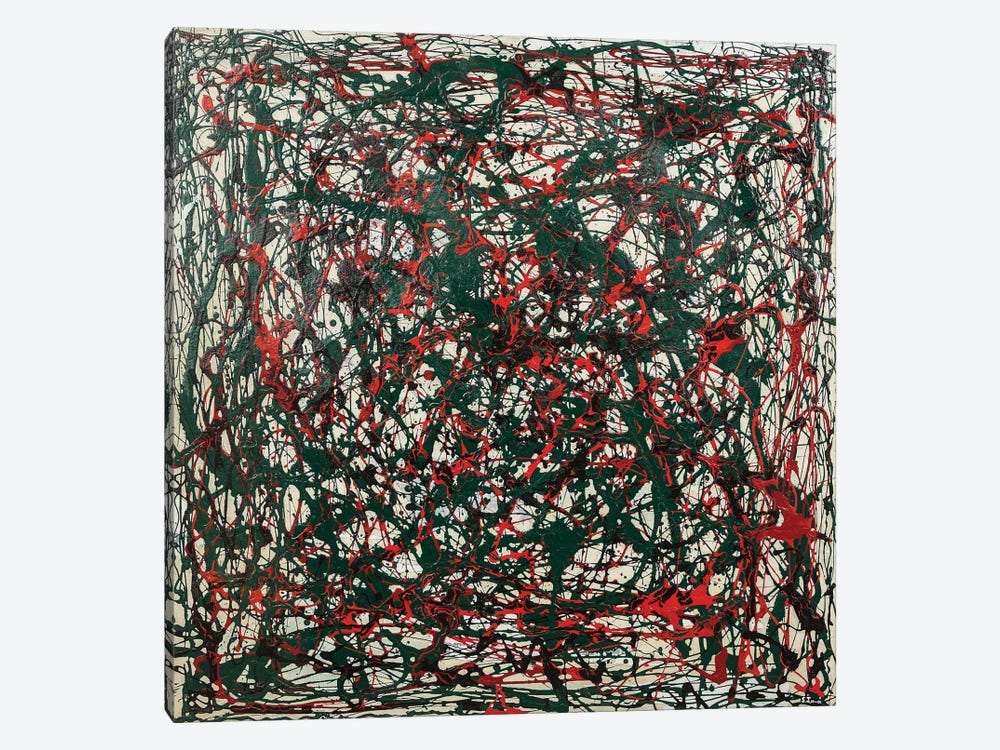 Untitled Green and Red by Shawn Jacobs 1-piece Canvas Art Print