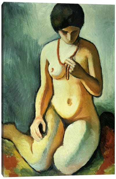 Nude with Coral Necklace Canvas Art Print