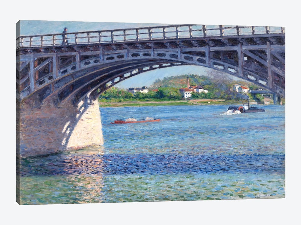 The Argenteuil Bridge and The Seine by Gustave Caillebotte 1-piece Canvas Wall Art