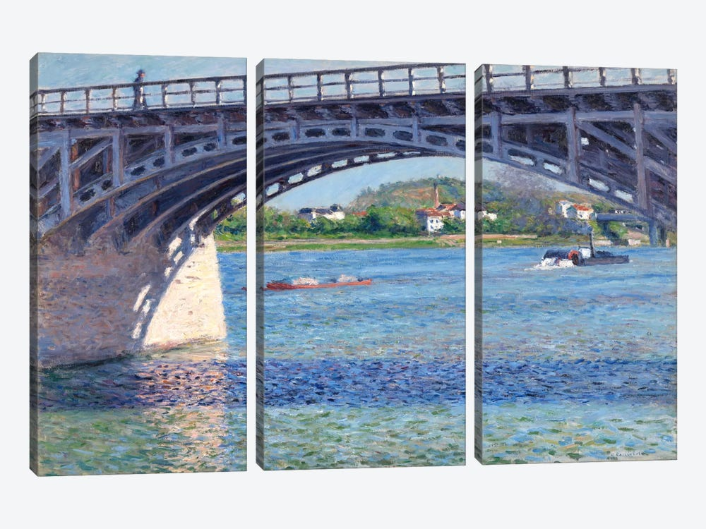 The Argenteuil Bridge and The Seine by Gustave Caillebotte 3-piece Canvas Wall Art