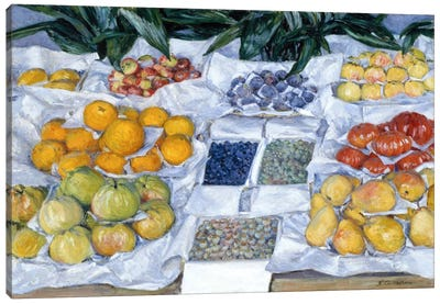 Fruit Displayed on a Stand Canvas Art Print