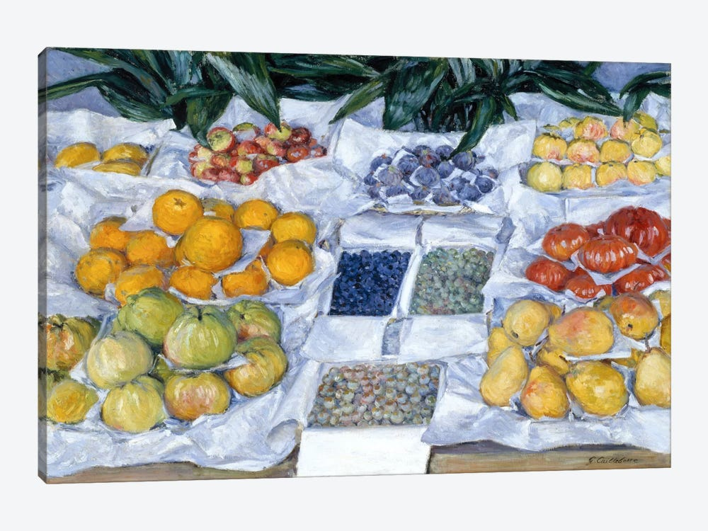 Fruit Displayed on a Stand by Gustave Caillebotte 1-piece Canvas Print