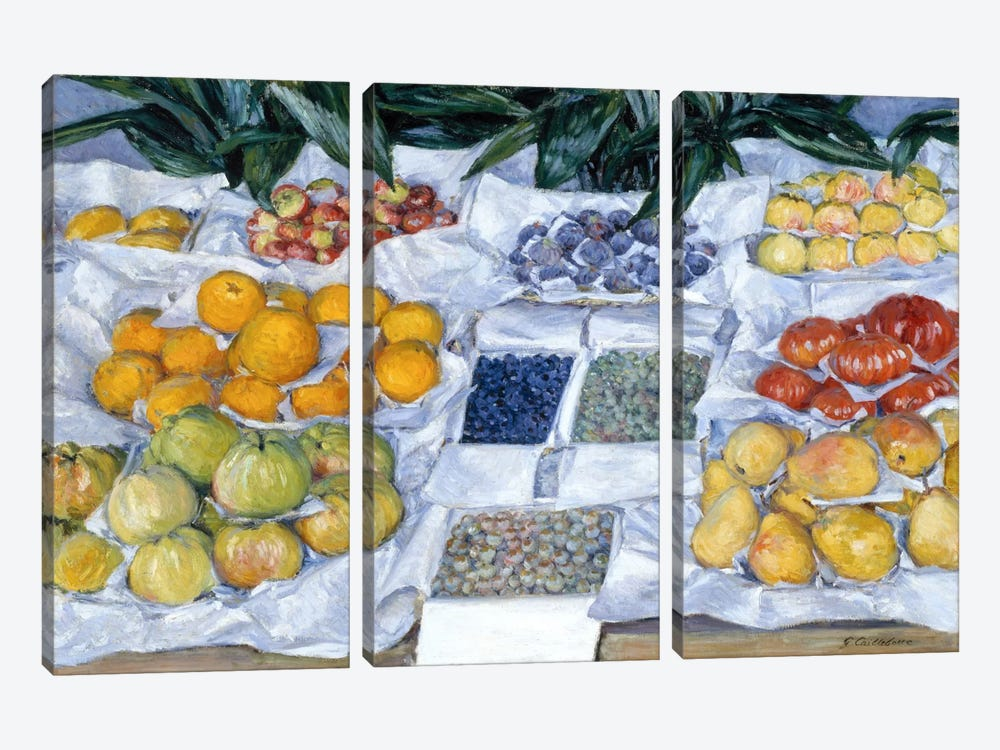Fruit Displayed on a Stand by Gustave Caillebotte 3-piece Canvas Art Print