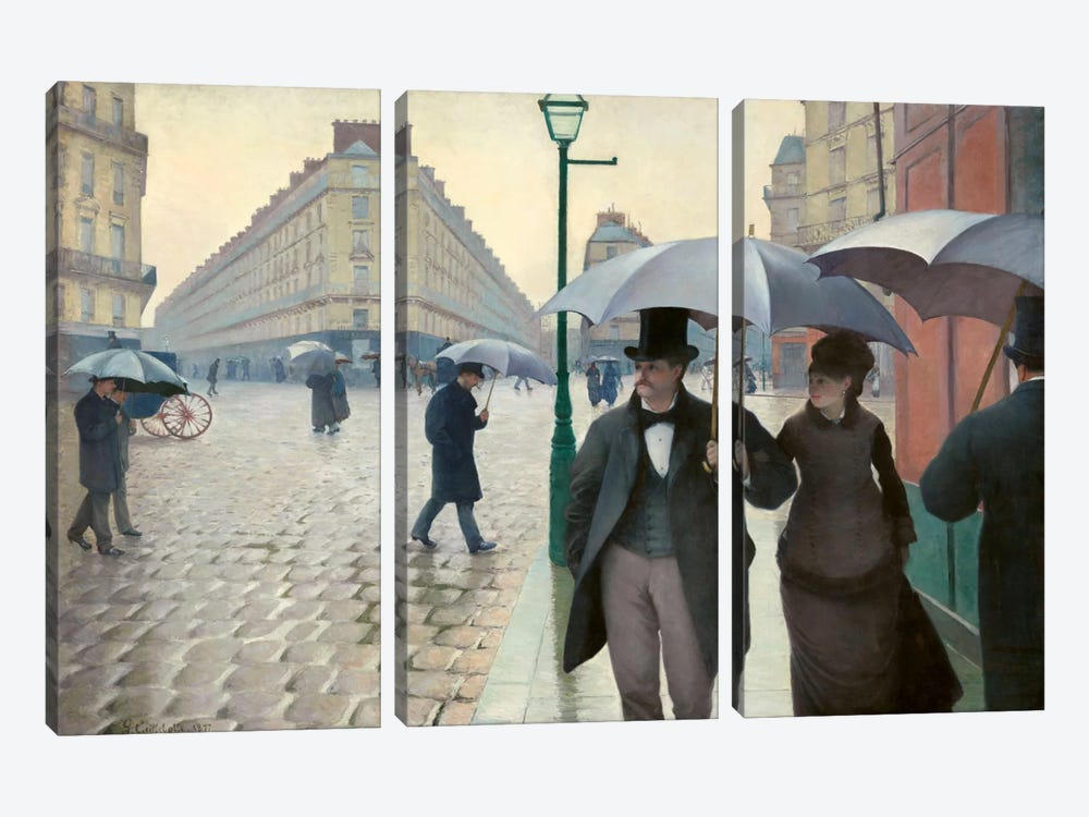Paris Street: A Rainy Day by Gustave Caillebotte 3-piece Art Print