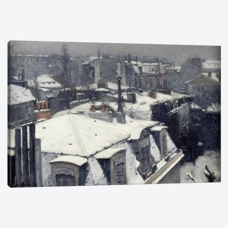 Rooftops in the Snow (Vue de Toits) Canvas Print #15017} by Gustave Caillebotte Canvas Artwork