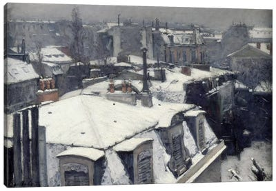 Rooftops in the Snow (Vue de Toits) Canvas Print #15017