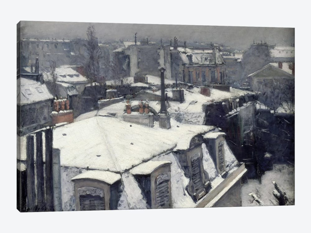 Rooftops in the Snow (Vue de Toits) by Gustave Caillebotte 1-piece Canvas Wall Art