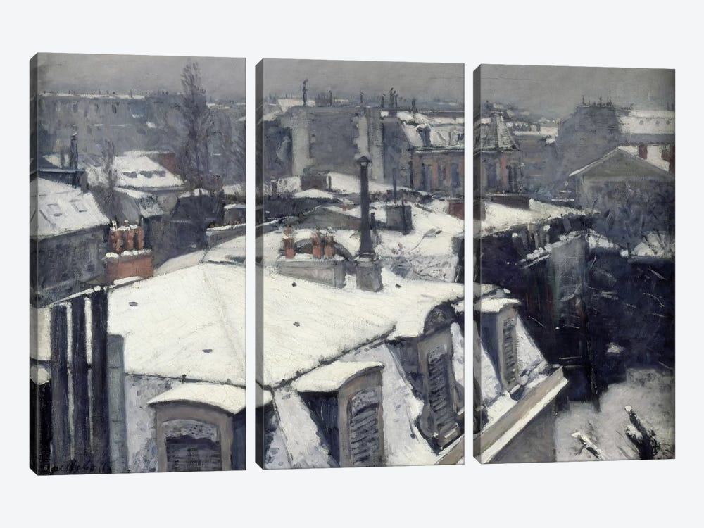 Rooftops in the Snow (Vue de Toits) by Gustave Caillebotte 3-piece Canvas Wall Art