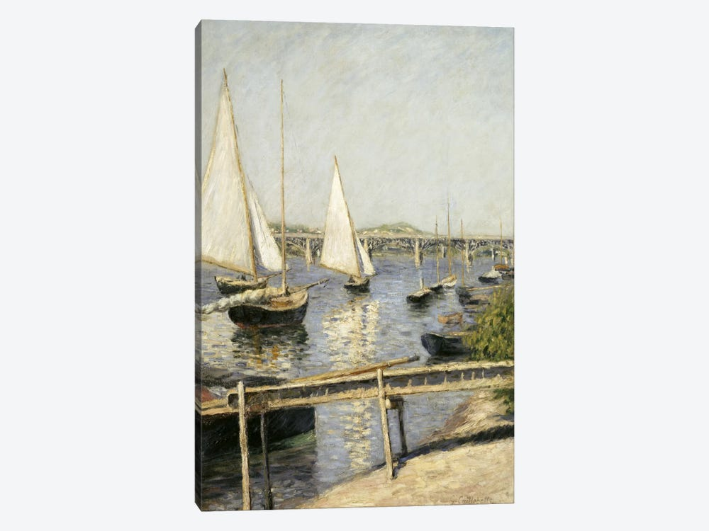 Sailing Boats at Argenteuil by Gustave Caillebotte 1-piece Canvas Art Print
