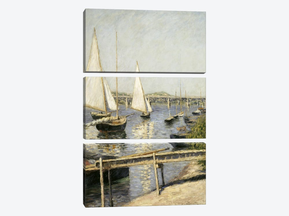 Sailing Boats at Argenteuil by Gustave Caillebotte 3-piece Canvas Art Print