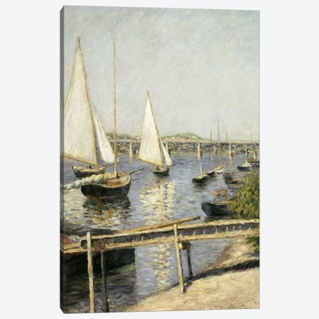 Sailing Boats at Argenteuil Canvas Print #15018} by Gustave Caillebotte Canvas Art Print
