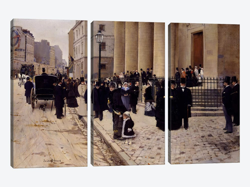 The Church of Saint-Philippe-du-Roule, Paris 3-piece Canvas Print