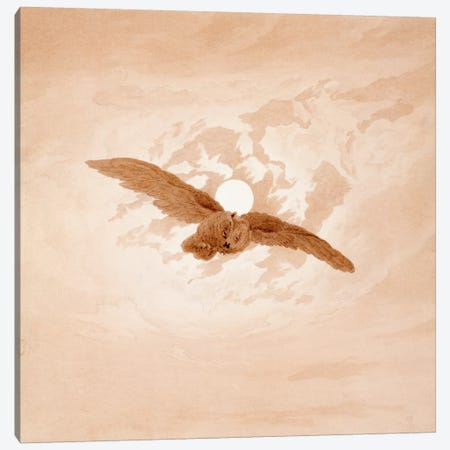 Owl Flying Against a Moonlit Sky Canvas Print #15040} by Caspar David Friedrich Canvas Wall Art
