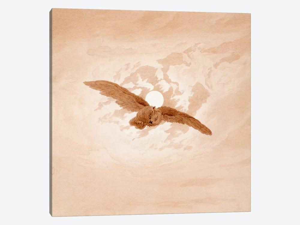 Owl Flying Against a Moonlit Sky by Caspar David Friedrich 1-piece Canvas Art