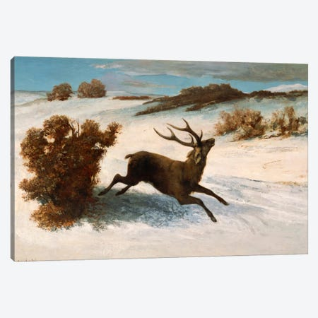 Deer Running in the Snow Canvas Print #15048} by Gustave Courbet Canvas Art