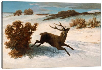 Deer Running in the Snow Canvas Art Print