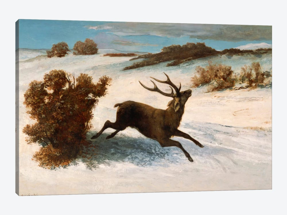 Deer Running in the Snow 1-piece Canvas Wall Art