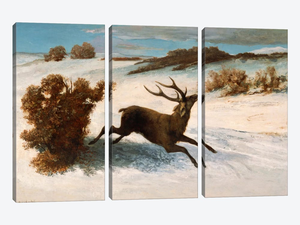 Deer Running in the Snow 3-piece Canvas Art