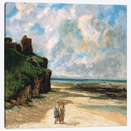 The Beach at Saint Aubin Sur Mer Canvas Print #15049} by Gustave Courbet Canvas Art