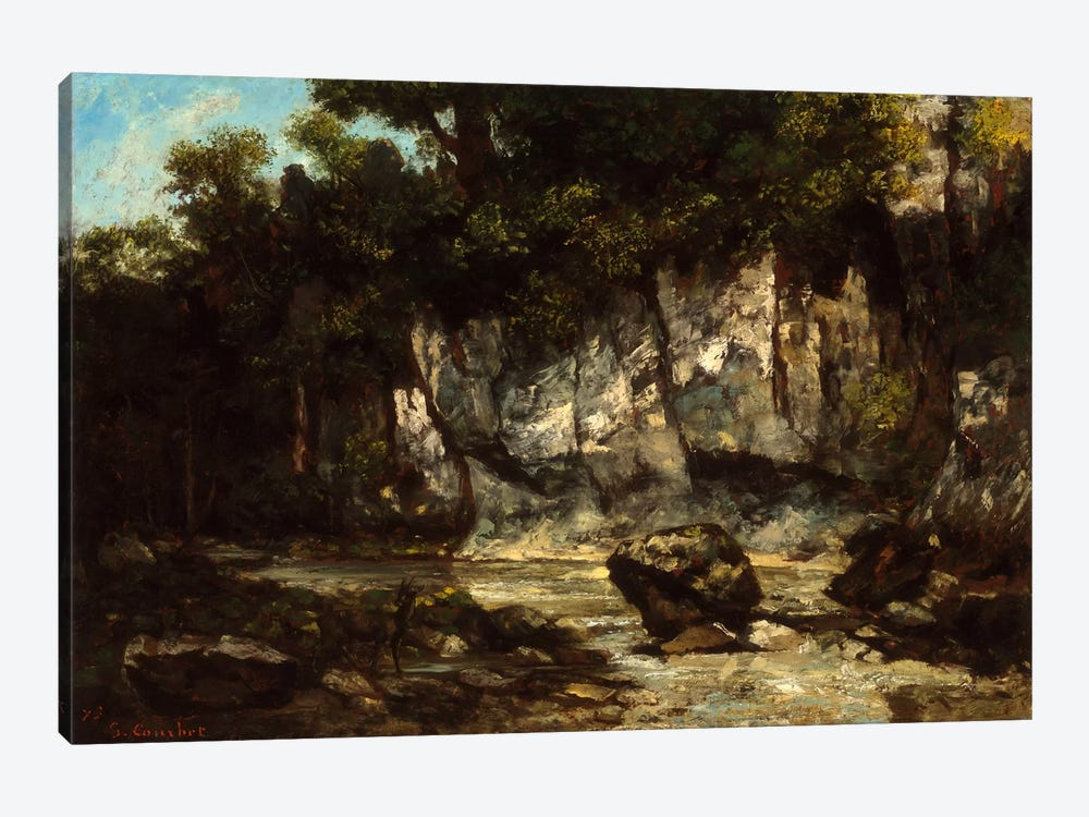 Landscape with Stag by Gustave Courbet 1-piece Canvas Art