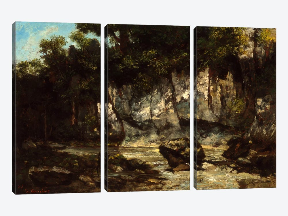 Landscape with Stag by Gustave Courbet 3-piece Canvas Art