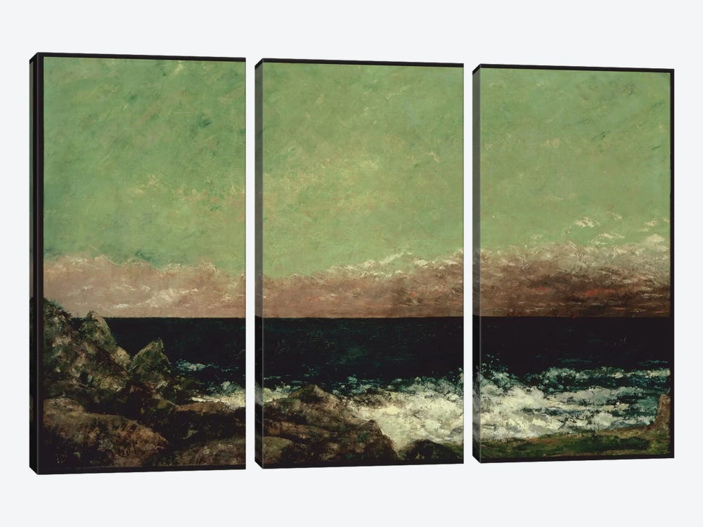 The Mediterranean by Gustave Courbet 3-piece Canvas Art Print