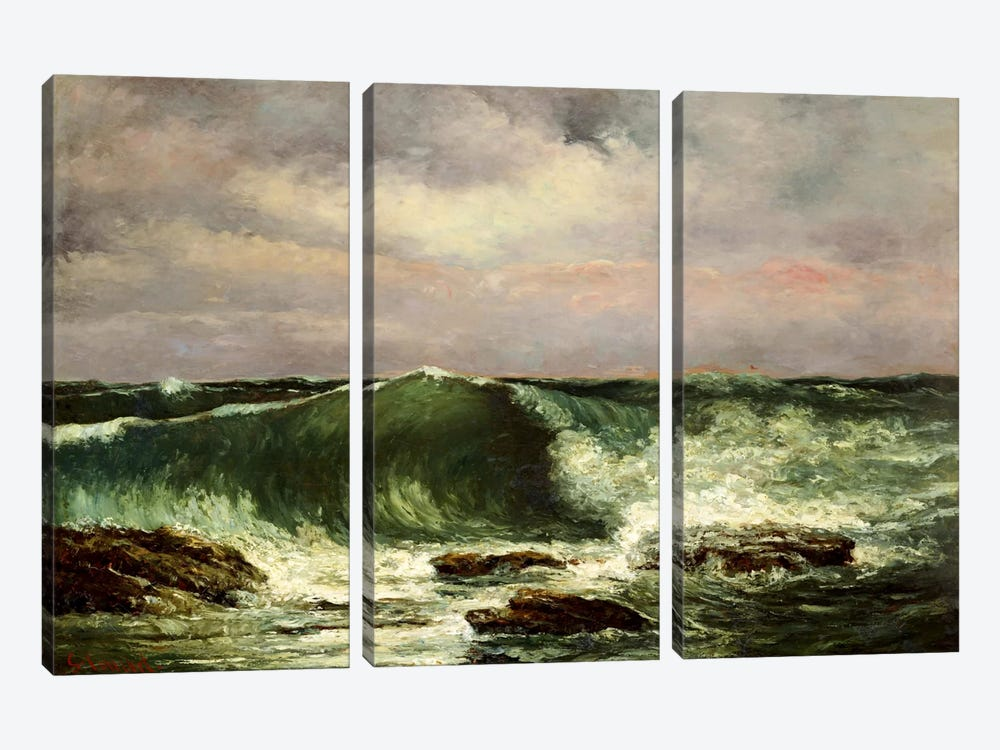 Waves by Gustave Courbet 3-piece Canvas Wall Art